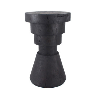 As Shown: Aparato Side Table Size: 14 dia x 22 H inches Finish: Ebony Topcoat: Oiled Finish