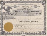 Nampa Automobile Company 1910 stock certificate