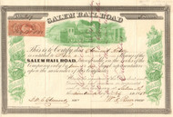 Salem Railroad stock certificate 1863 (New Jersey)