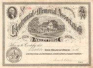 Centennial and Memorial Association of Valley Forge stock certificate 1878 (Pennsylvania)