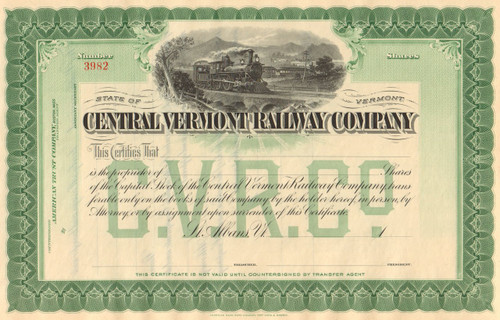Central Vermont Railway Company stock certificate circa 1899