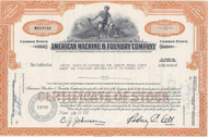 American Machine and Foundry stock certificate