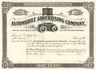 Automobile Advertising Company stock certificate circa 1899 (Maine)