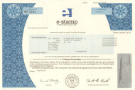 E-Stamp Corporation stock certificate 2001