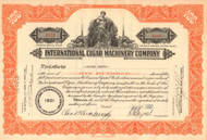 International Cigar Machinery Company stock certificate 1937