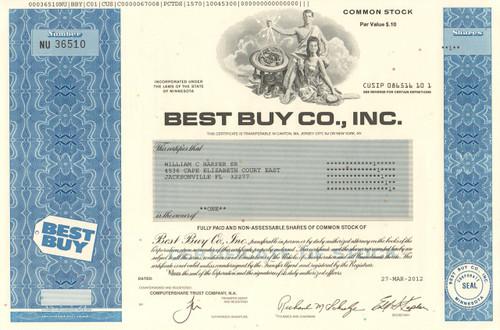 Best Buy Co. Inc. stock certificate 2012 (consumer electronics)