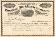 Phoenix Oil and Land Company stock certificate circa 1874 (Pennsylvania)