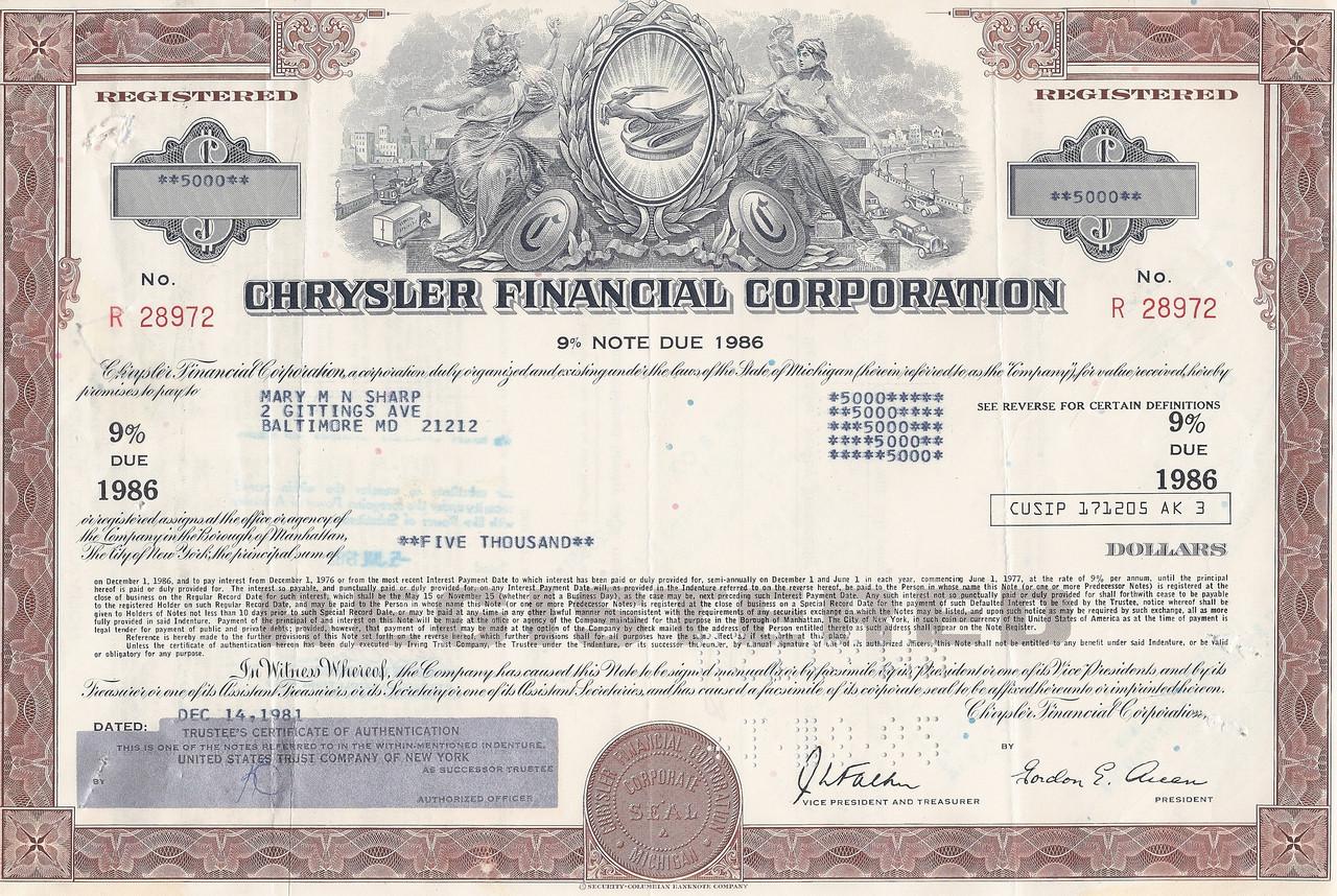 Chrysler financial corporation bond certificate for Corporate bond certificate template