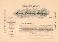 Carver Cranberry Company stock certificate circa 1883  (Massachusetts)