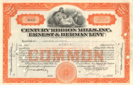 Century Ribbon Mills, Inc. stock certificate 1930's (New York)