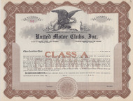United Motor Clubs, Inc 1920 stock certificate