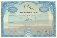 Broadband.com stock certificate specimen 1998 (aerial broadband)