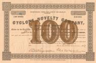Cyclone Novelty Company stock certificate 1887 (Illinois)