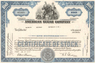 American Sugar Company stock certificate 1960's - blue