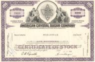American Crystal Sugar Company stock certificate 1960's - purple