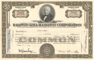 Baldwin-Lima-Hamilton Corporation stock certificate 1950's