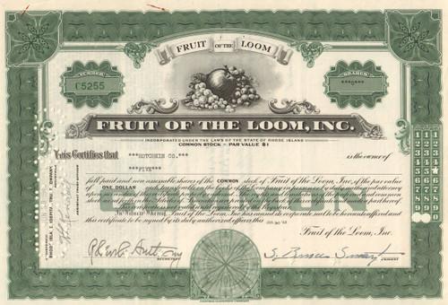 Fruit Of The Loom Stock Certificate Underwear Brand