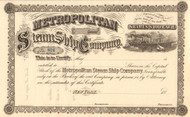 Metropolitan Steamship Company stock certificate circa 1866 (New York)