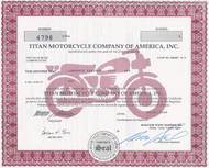 Titan Motorcycle Company stock certificate