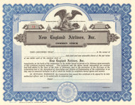 New England Airlines Inc. stock certificate circa 1970 (Block Island flights)
