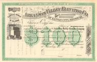 Arkansas Valley Elevator Co. stock certificate circa 1875 (Kansas City MO)