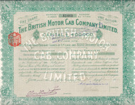 British Motor Cab Company stock certificate 1910