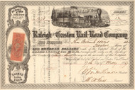 Raleigh and Gaston Rail-Road Company stock certificate 1869 (North Carolina)