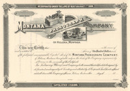 Montana Phonograph Company stock certificate circa 1899 (Helena MT)