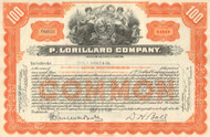 P. Lorillard Company stock  certificate 1930's (tobacco)