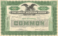 Great Western Sugar Company stock certificate 1920's (sugar beets)