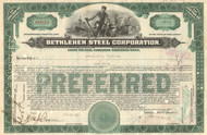 Bethlehem Steel Corporation stock certificate 1927 (famous bankruptcy)
