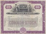 Flint Motor Company stock certificate 1923