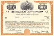 Montgomery Ward Credit Corporation bond certificate 1970's (mail order and retail) - brown $1000
