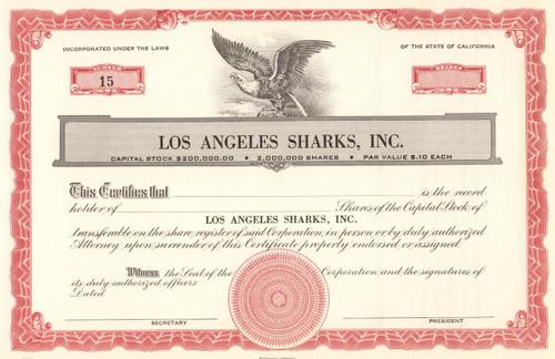 Los Angeles Sharks stock certificate 1970's (hockey)