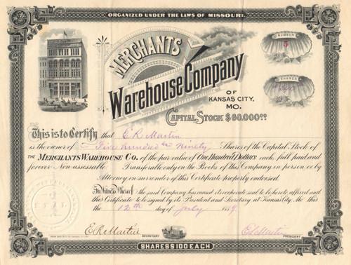 Merchants Warehouse Company stock certificate 1889 (Kansas City MO)