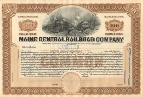 Maine Central Railroad Company stock certificate circa 1920 - light brown
