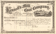 Kennell's Mill Coal Company stock certificate circa 1873 (Pennsylvania)