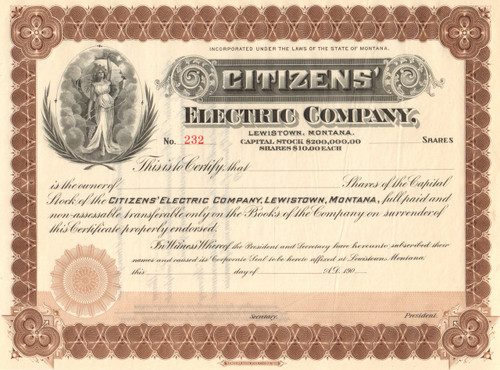 Citizens Electric Company stock certificate circa 1906 (Montana)