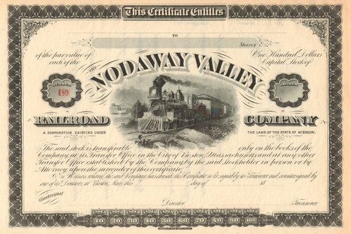 Nodaway Valley Railroad Company stock certificate circa 1879 (Missouri)