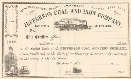 Jefferson Coal and Iron stock certificate circa 1890 (Ohio)