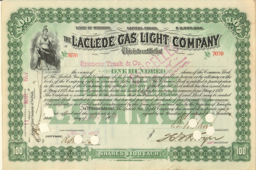 Laclede Gas Light Company stock certificate 1900's (Missouri)