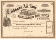Michigan Air Line Railroad Company stock certificate circa 1868 (Jackson MI)