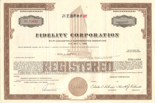 Fidelity Corporation bond certificate 1968 (Virginia)