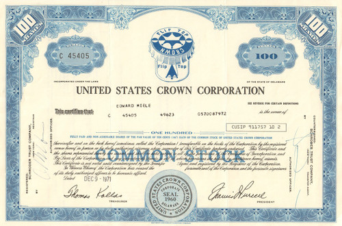United States Crown Corporation stock certificate 1971 (bottle caps)