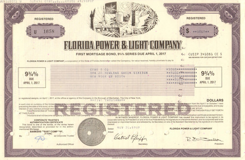 Florida Power and Light Company bond certificate 1980s (utility) - purple