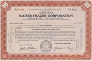 Brown Kaiser-Frazer Corporation stock certificate. Historic automotive company.
