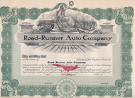 Road-Runner Auto Company 1908 stock certificate