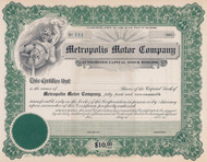 Metropolis Motor Company stock certificate circa 1917
