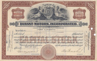 Durant Motors Incorporated stock certificate