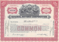 General Motors (GM) stock certificate 1950's - red